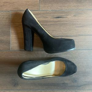 "Mossimo Black Faux Suede 5"" Platform Heels Size 11"